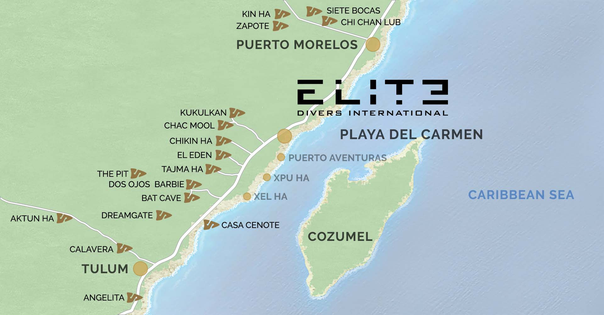 Map of cenote cavern diving
